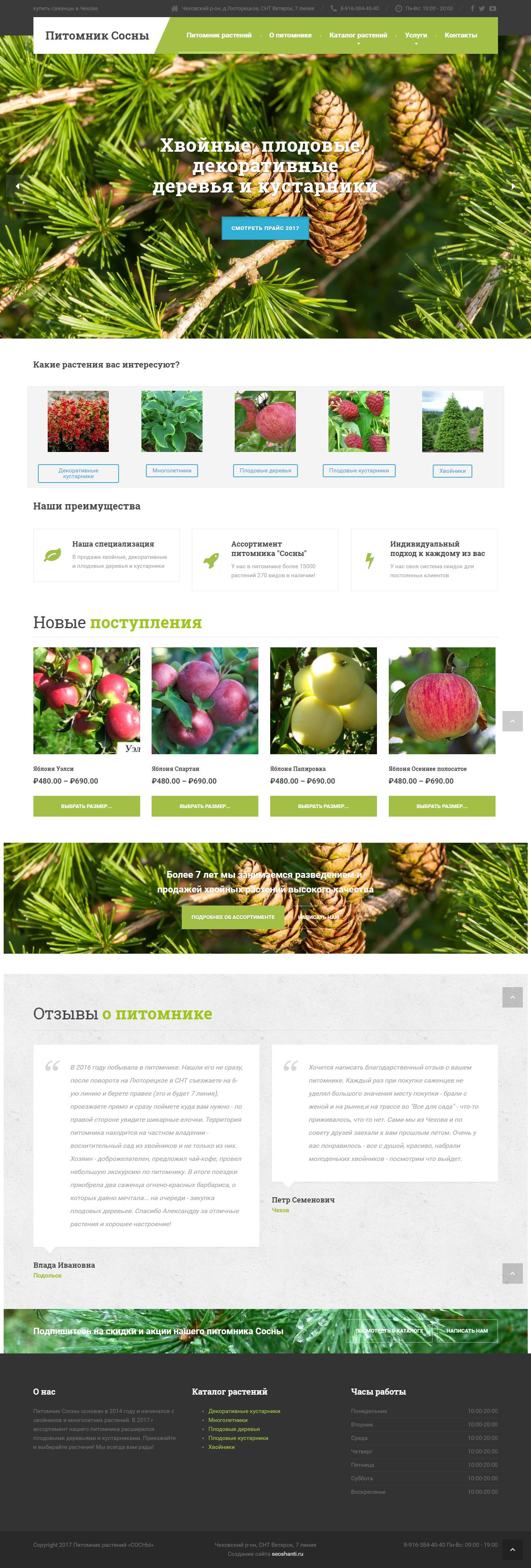 Создание сайта для питомника растений в Чехове